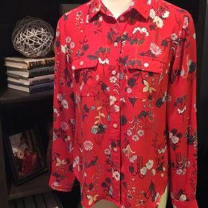Loft   Botanical Print Shirt size XS